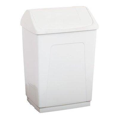 Afvalbak m/tuimeldeksel wit kunststof 55ltr