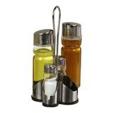 Menage 4-delig rvs 18/8 glas Peper, Zout, Olie, Azijn.