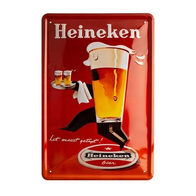 Heineken Retro metal bar sign - Waiter (30 x 20cm)