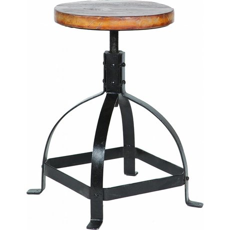 LEF collections Piano stool metal / wood black / brown 47-60xØ30cm