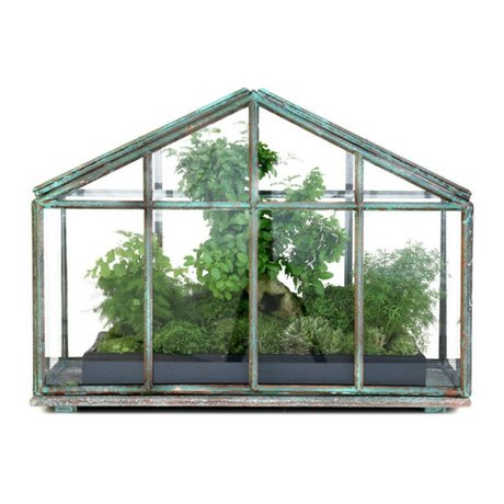 HK-living Mini serre verre transparent 51x25x36,5cm métallique