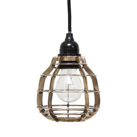 HK-living Hanging lamp LAB with ceiling cap brass metal Ø13x17cm, LAB lamp brass