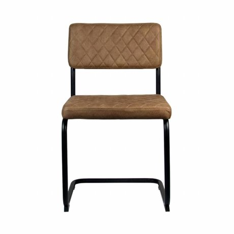 LEF collections Dining Chair Bow brown textile 49x55x85cm