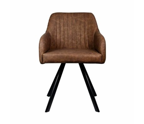 LEF collections Dining chair Floor brown PU leather 55,5x60x84cm