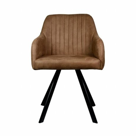 LEF collections Dining chair Floor tanny brown PU leather 55,5x60x84cm