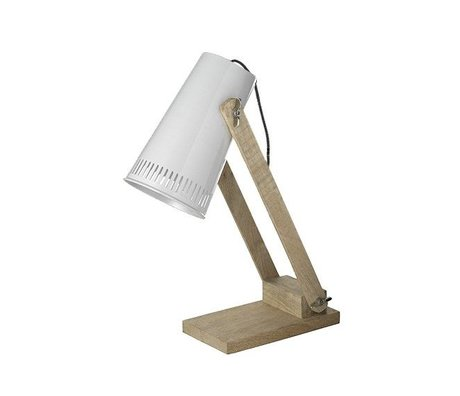 LEF collections Table lamp retro white metal timber 16x26x52cm