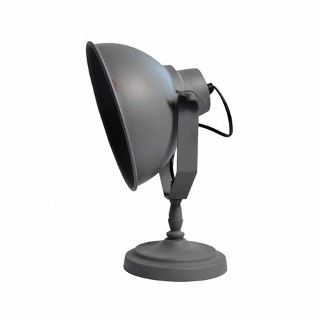 LEF collections Lampe de table en pierre urbaine 26x18x32cm en métal gris