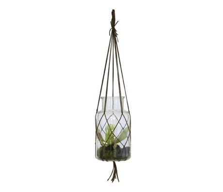 HK-living Hang Vase brown glass medium leather 14x14x26cm