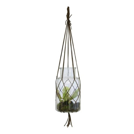 HK-living Hang Vase braun Glas Medium Leder 14x14x26cm