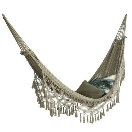 HK-living Hammock handcrafted beige cotton 200x80cm