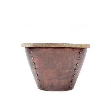 LEF collections Occasional table Indi brown red wood metal M Ø46x31cm