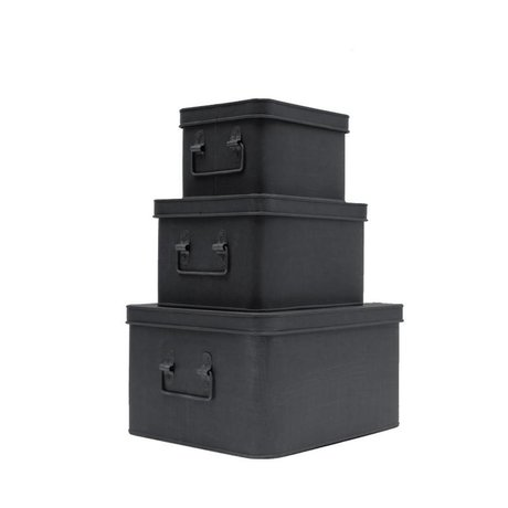 LEF collections Storage box set of three black metal