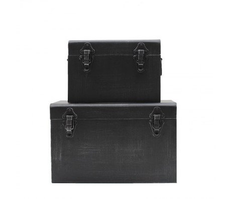 LEF collections Storage Box Vintage black metal set of 4