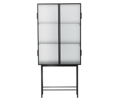 Ferm Living Kast Haze vitrine zwart metaal glas 70x155x32cm