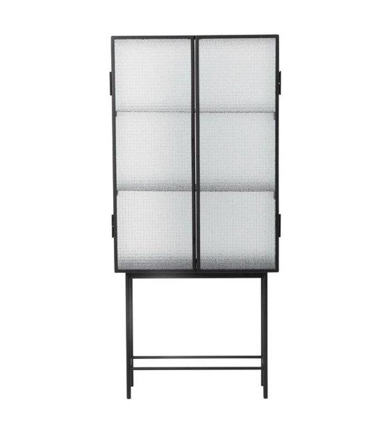 Glazen Kast Zwart.Ferm Living Kast Haze Vitrine Zwart Metaal Glas 70x155x32cm
