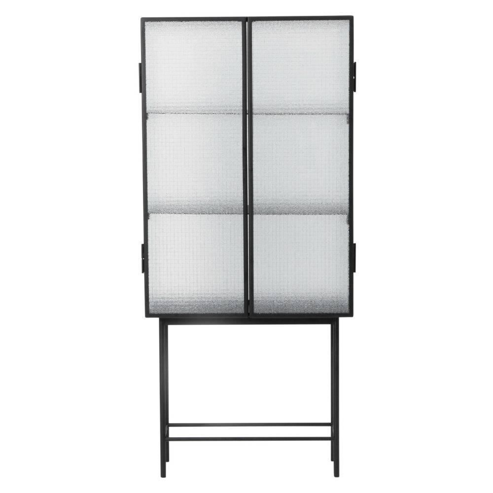 Kast Voor Glaswerk.Ferm Living Kast Haze Vitrine Zwart Metaal Glas 70x155x32cm