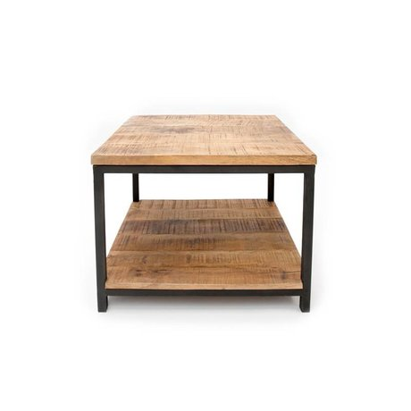 LEF collections Industrial coffee table brown black wood metal 60x60x46cm