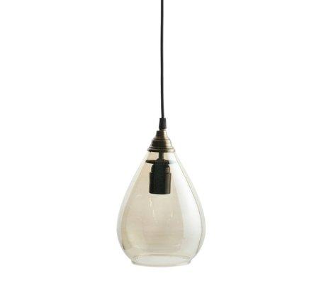 BePureHome Lampe à suspension Simple en verre doré en laiton L 28xØ18cm