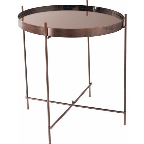 """Zuiver Table d'appoint cuivre Ø43x45cm de verre métallique """"Cupidon"""""""