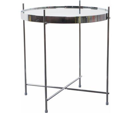 """Zuiver Table d'appoint argent Ø43x45cm de verre métallique """"Cupidon"""""""