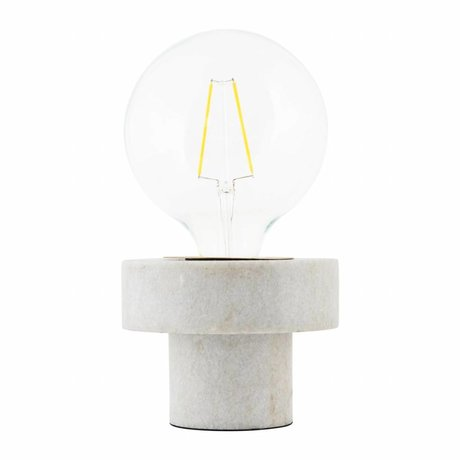 Housedoctor Table Lamp Pin white marble 13x13x10cm