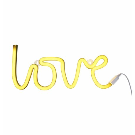 A Little Lovely Company Lamp neon love geel 38x16cm