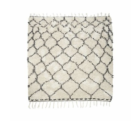 Housedoctor Rug Zena black and white cotton 180x180cm