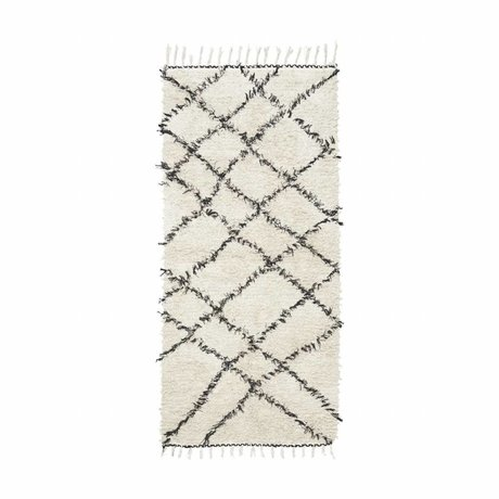 Housedoctor Rug Riba black and white cotton 90x200cm