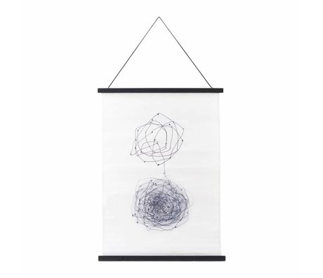 Housedoctor École affiche Knot noir blanc coton bleu bois 50x70cm