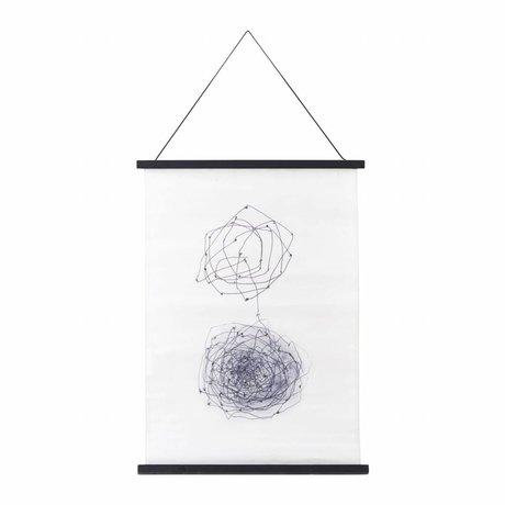 Housedoctor Schule Poster Knoten schwarz, weiß, blau Baumwolle Holz 50x70cm