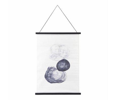 Housedoctor Schule Felsen-Plakat schwarz, weiß, blau Baumwolle Holz 50x70cm