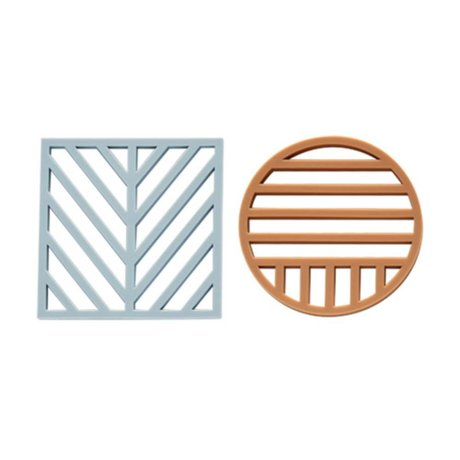 OYOY Coaster Gotoku Trivet blue light caramel brown set of two M 14x14x1cm Ø14x1cm