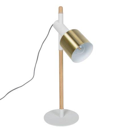 Zuiver Tafellamp Ivy wit brass goud metaal hout 20x60cm