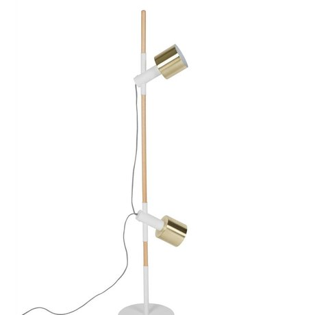 Zuiver Stehlampe Ivy weiß Messing Gold-Metall-Holz 28x145cm