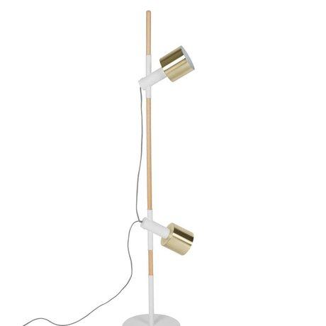 Zuiver Vloerlamp Ivy wit brass goud metaal hout 28x145cm