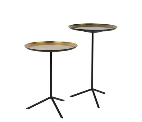 Zuiver Occasional table About brass gold metal set of two 31x40cm 31x50,5cm