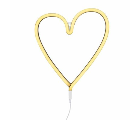 A Little Lovely Company Lamp neon yellow heart 29x30cm