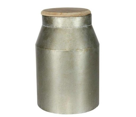 BePureHome Jar Barrel gray metal timber M 35,5xØ20cm