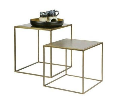 BePureHome Table d'appoint en laiton Metallic ensemble de 2 en métal doré 45x40x40cm / 35x36x36cm