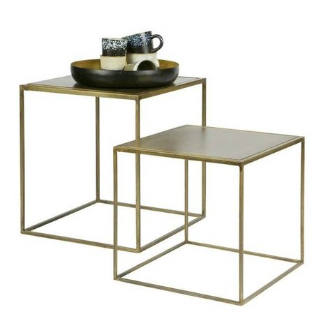 BePureHome Occasional table Metallic brass gold metal set of 2 45x40x40cm / 35x36x36cm