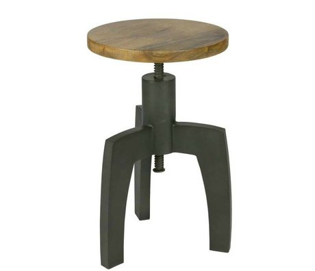 BePureHome Stool Space black metal timber 48xØ34cm