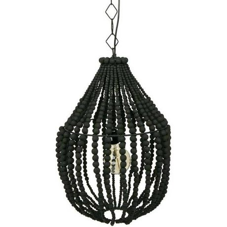 BePureHome Funale chandelier hanging lamp black wood L 54xØ42cm