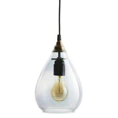 BePureHome Lampe à suspension simple verre gris M 25xØ11cm