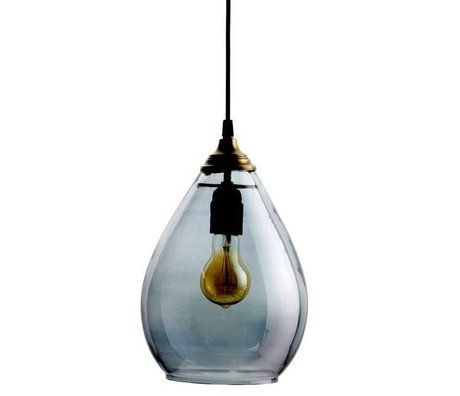 BePureHome Lampe suspendue Simple verre gris L 28xØ14cm