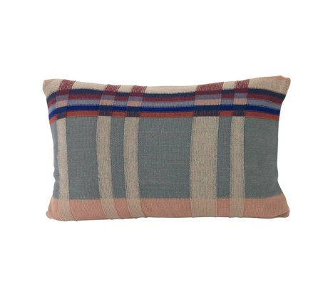 Ferm Living Cushion Medley Knit Dusty blue double-sided multicolour cotton L 60x40cm