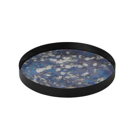 Ferm Living Coupled tray blue metallic colored glass L Ø30x3,2cm
