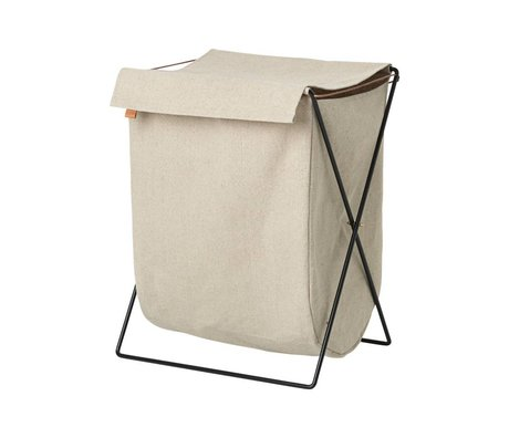 Ferm Living Herman laundry basket beige black canvas metal 65x50x40cm