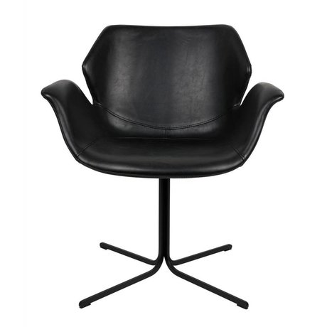 Zuiver Nikki chaise de bureau en cuir noir 66x62x80cm métallique