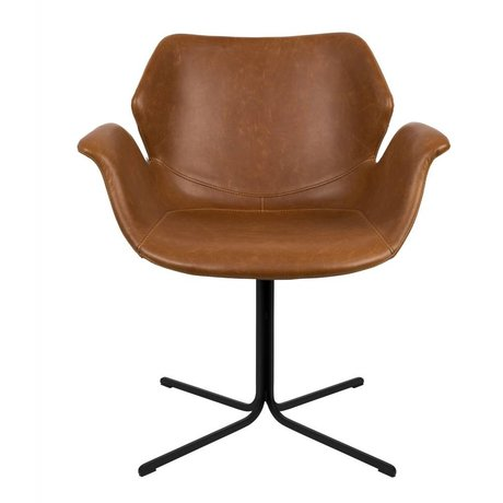 Zuiver Nikki brown leather desk chair metal 66x62x80cm