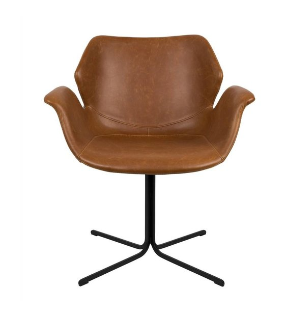 Cognac Leren Bureaustoel.Zuiver Bureaustoel Nikki Bruin Leer Metaal 66x62x80cm Wonenmetlef Nl